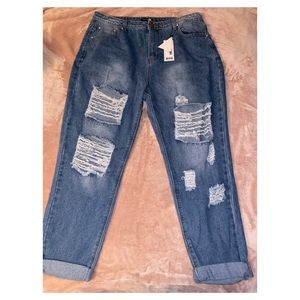 All Over Ripped Mom Jean